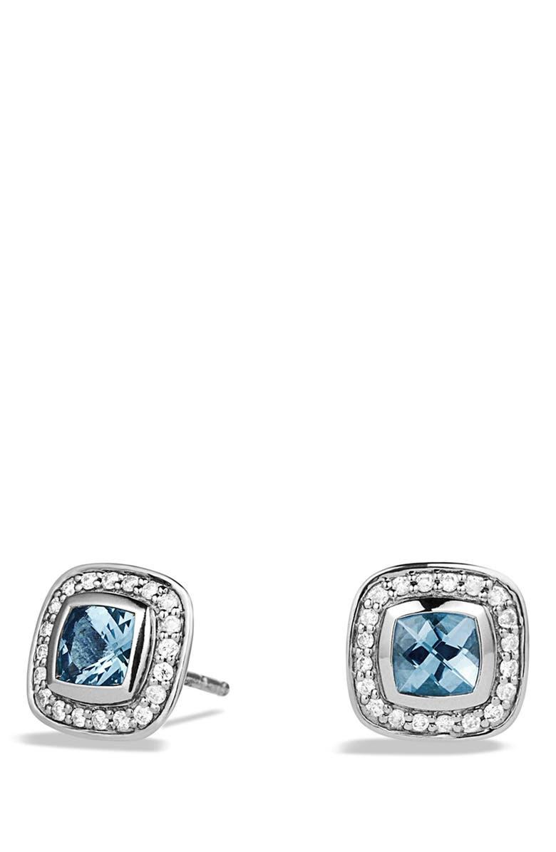 DAVID YURMAN 'Albion' Petite Earrings with Diamonds, Main, color, BLUE TOPAZ