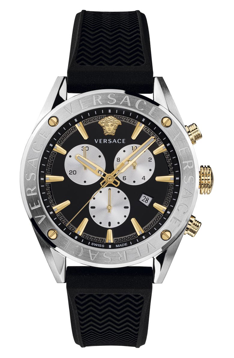 VERSACE Chrono Silicone Strap Watch, 44mm, Main, color, BLACK/ SILVER/ GOLD