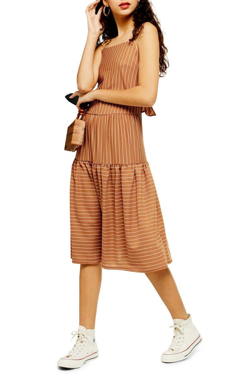 TOPSHOP Sleeveless Stripe Linen Midi Dress, Main, color, BROWN MULTI