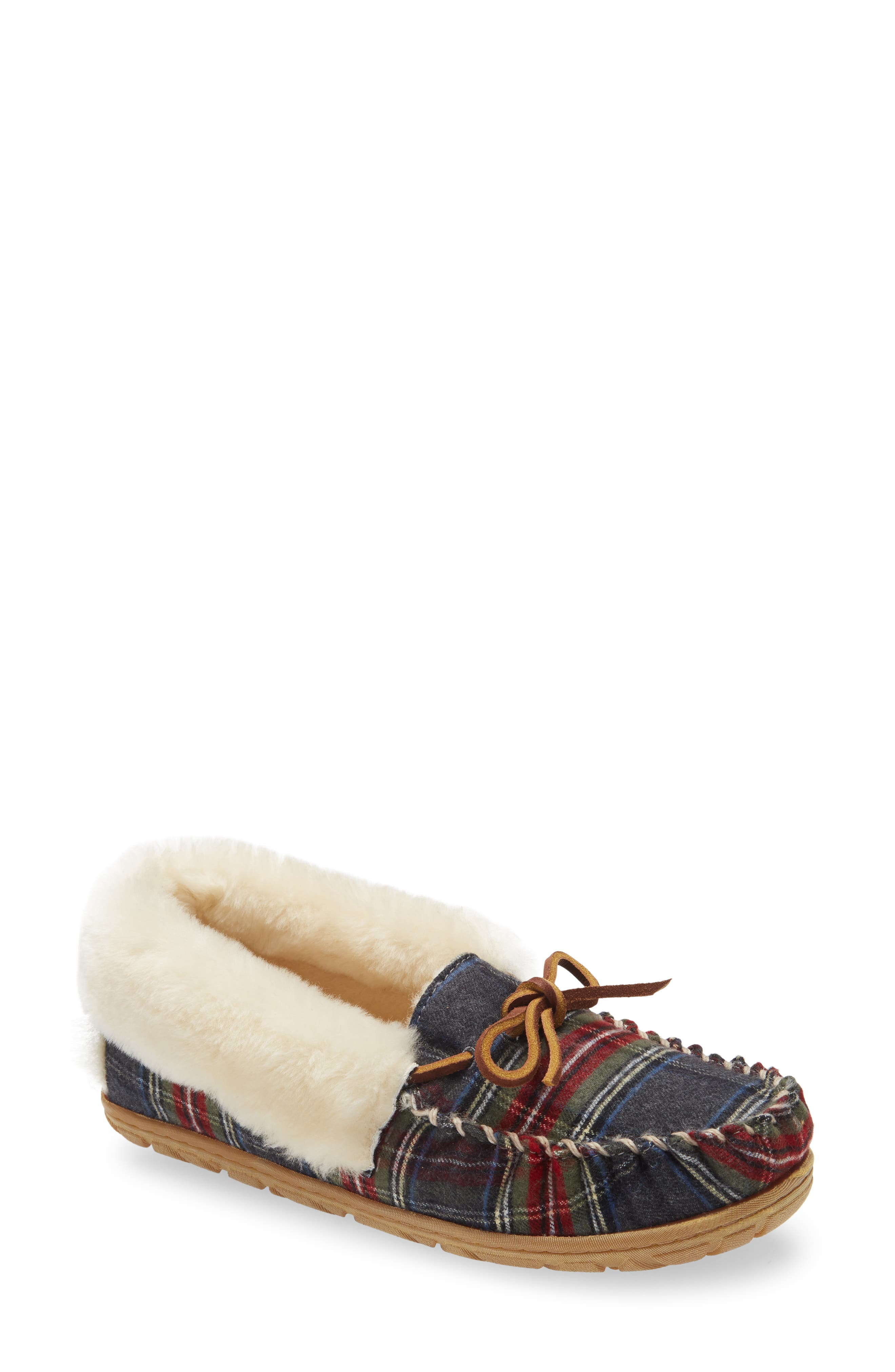 Wicked Good Genuine Shearling Plaid Moccasin Slipper