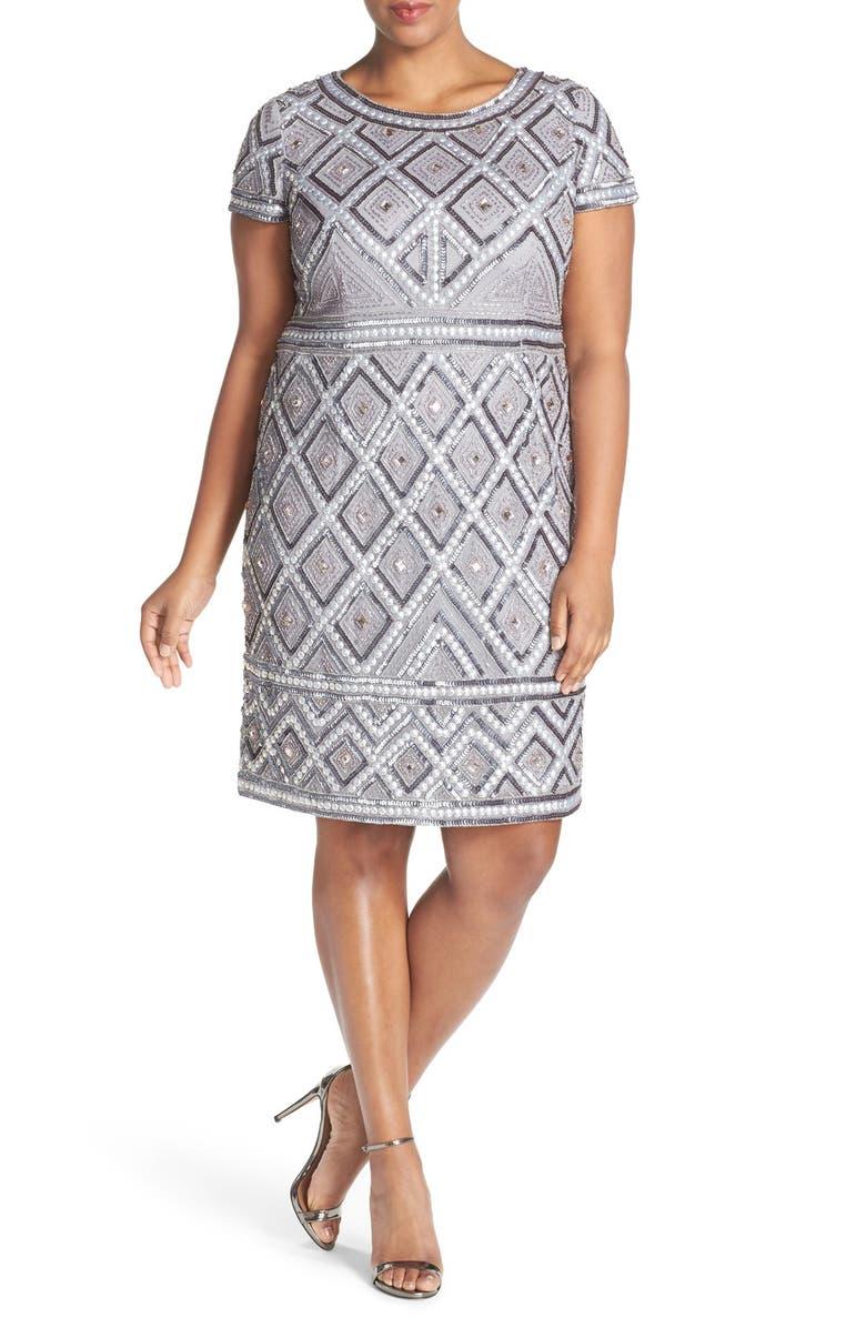ADRIANNA PAPELL Beaded Sheath Dress, Main, color, 044