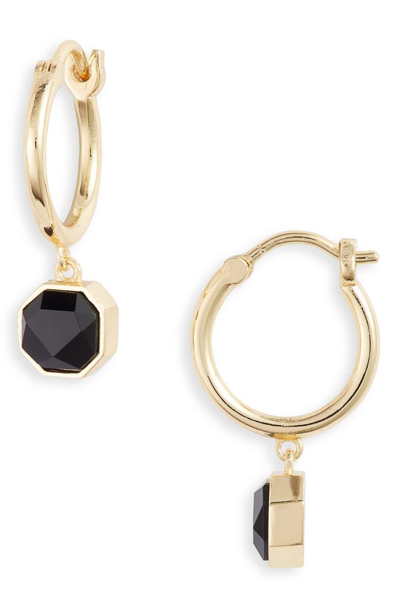 GORJANA Power Stone Charm Huggie Earrings, Main, color, BLACK ONYX