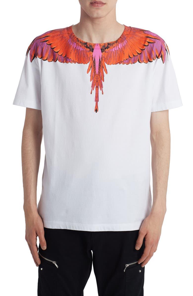 MARCELO BURLON Wings Graphic T-Shirt, Main, color, WHITE RED