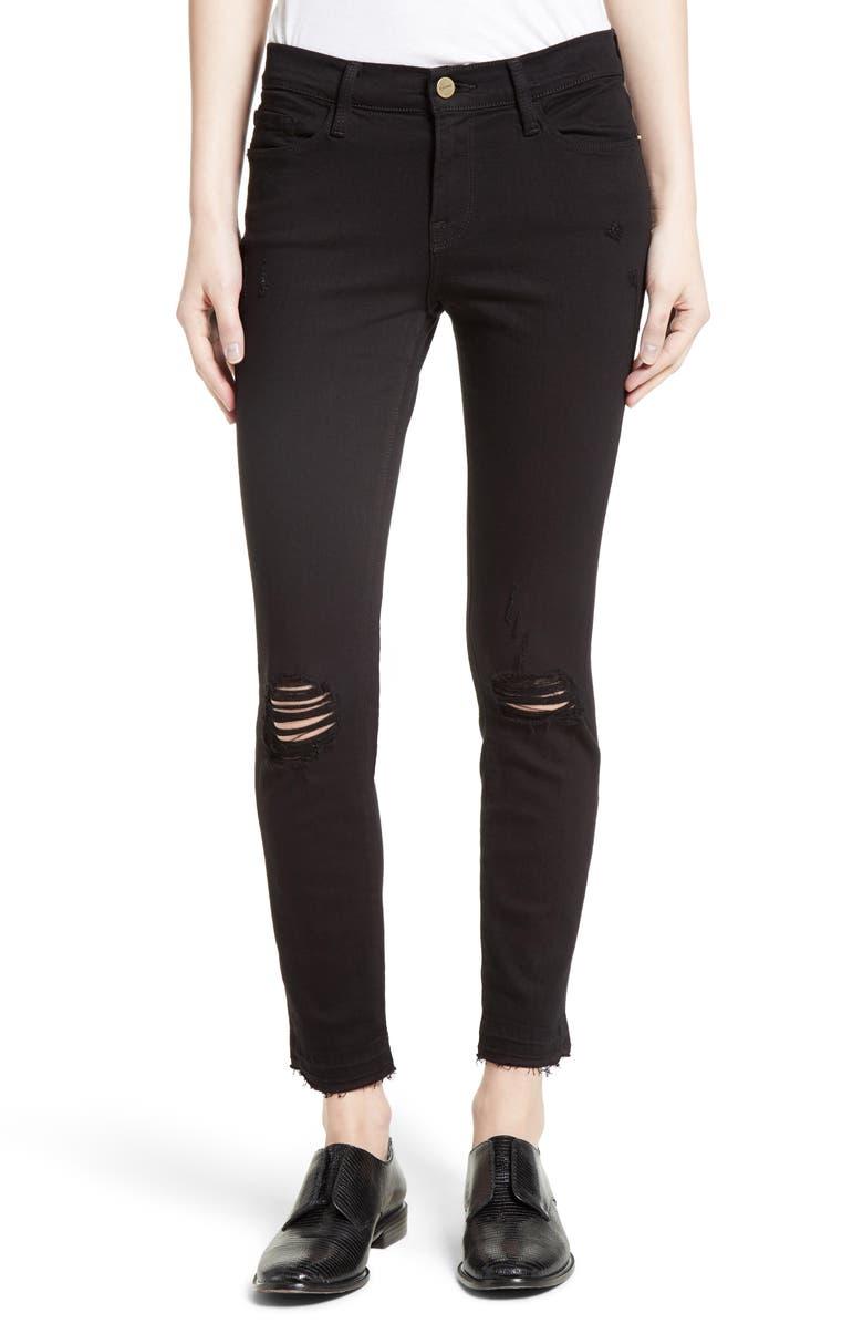 FRAME Distressed Release Hem Skinny Jeans, Main, color, 001