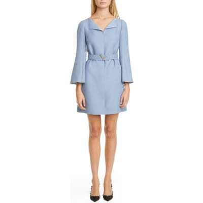 Valentino Pave-V Belted Wool & Silk Crepe Couture Minidress, 8 IT - Blue
