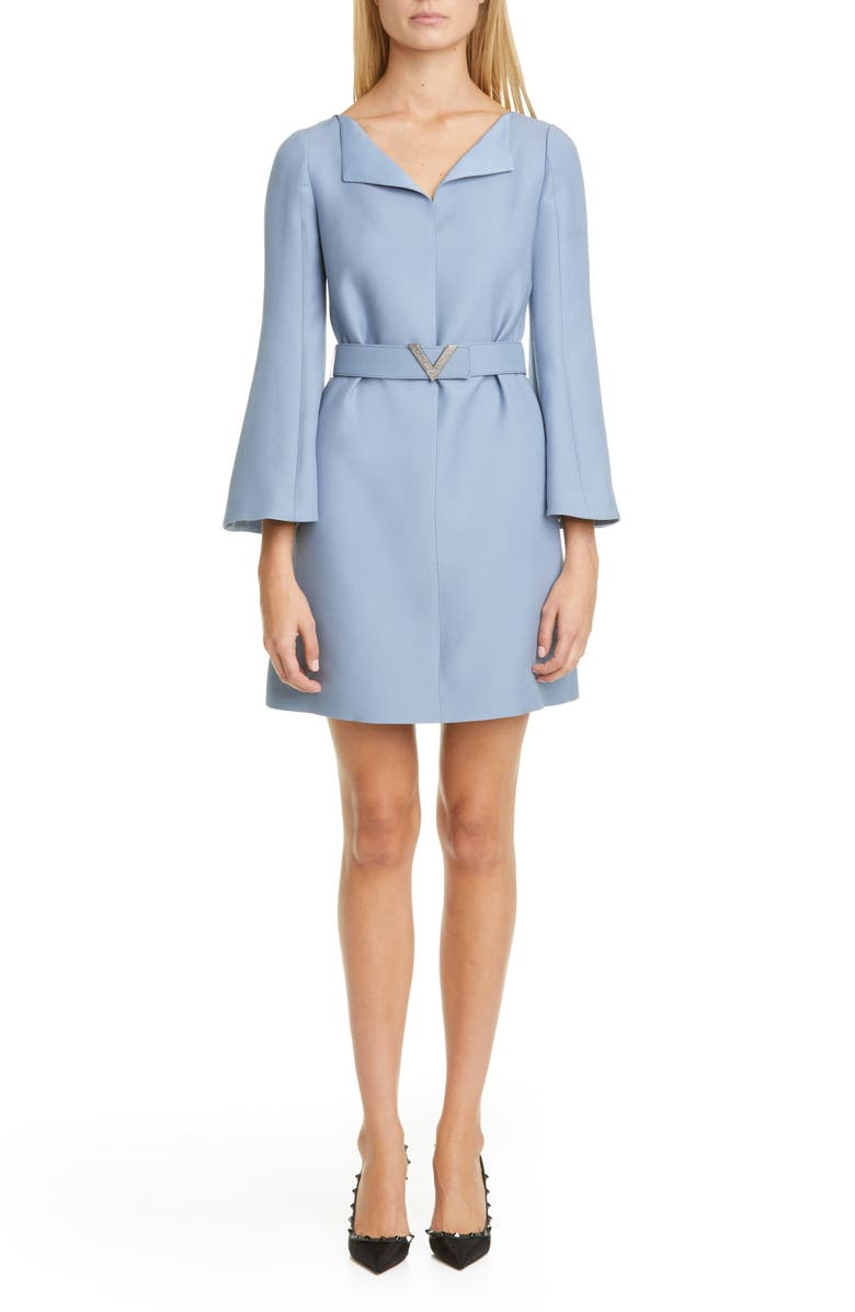 VALENTINO Pavé-V Belted Wool & Silk Crepe Couture Minidress, Main, color, 400
