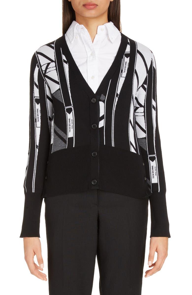 THOM BROWNE Tie Collage Merino Wool Cardigan, Main, color, BLACK/ WHITE