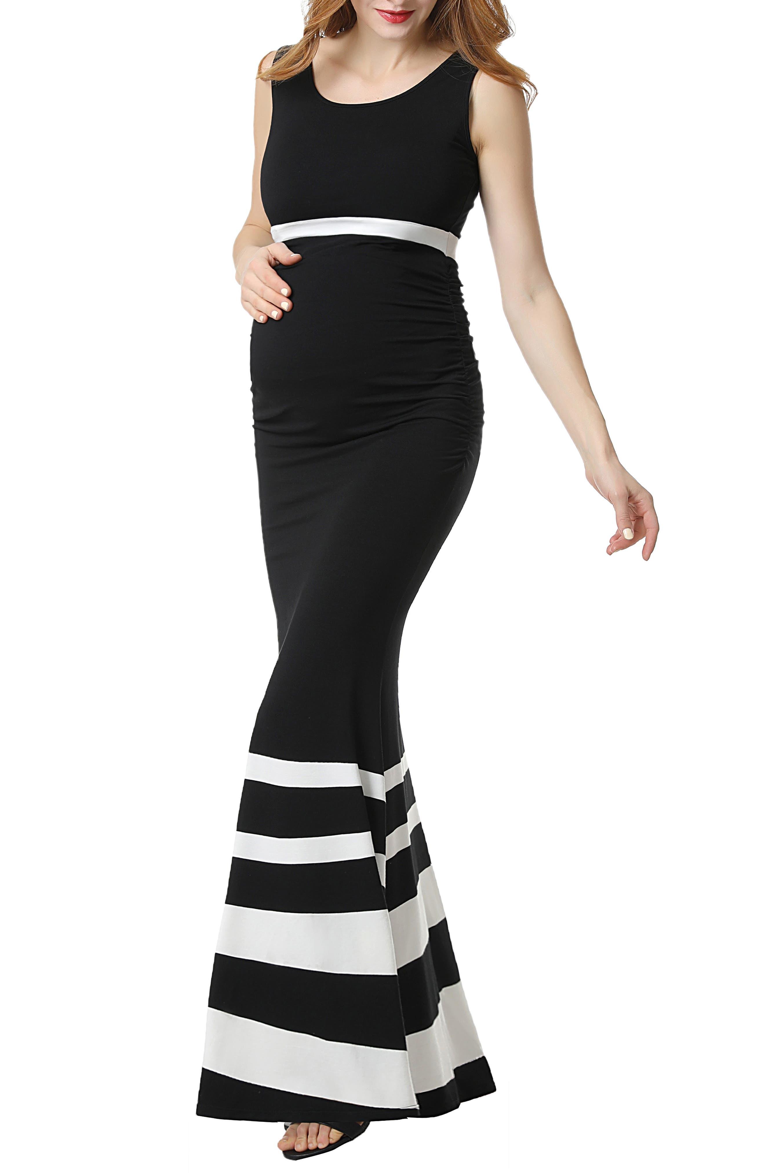 Cortana Stripe Maternity Mermaid Maxi Dress