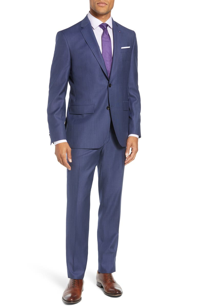 TED BAKER LONDON Jay Trim Fit Solid Wool Suit, Main, color, LIGHT BLUE