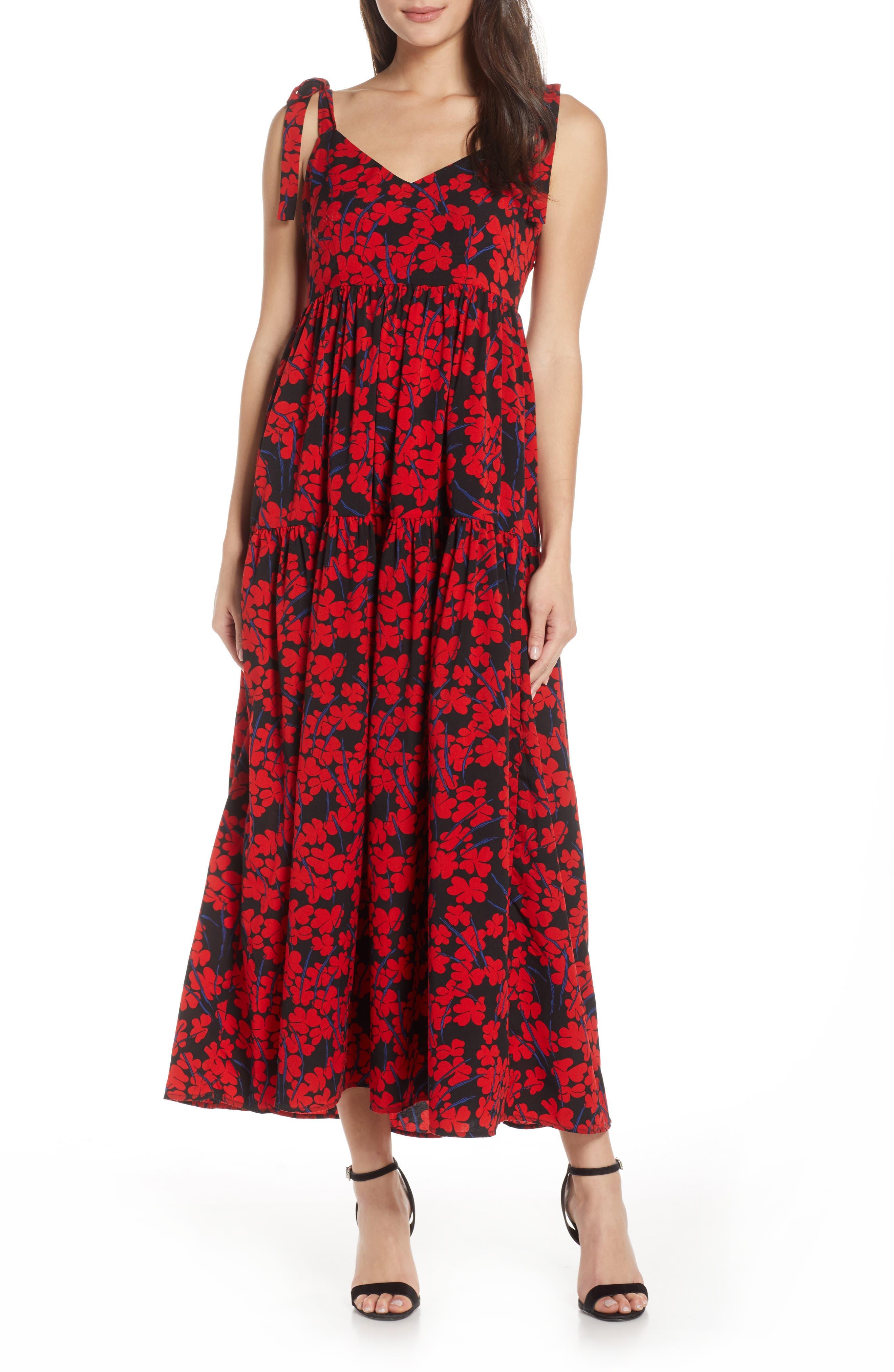 Caara Steffi Floral Print Maxi Dress, Red