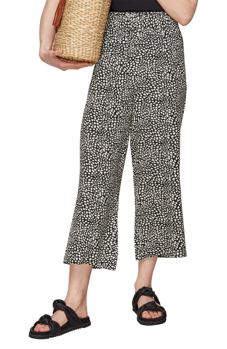 WHISTLES Animal Print Crop Trousers, Main, color, 001
