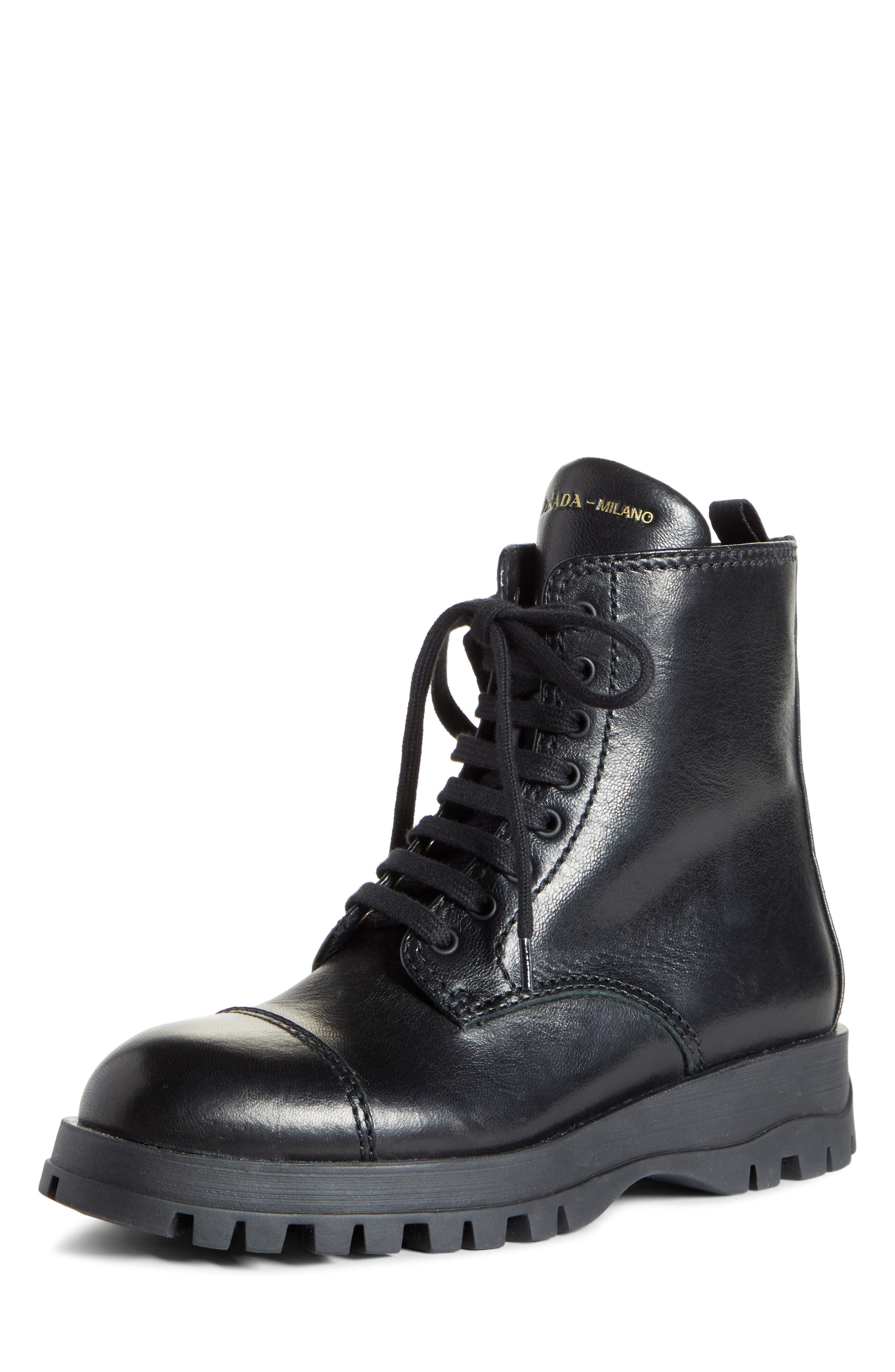 Prada Lace-Up Combat Boot (Women