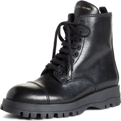 Prada Lace-Up Combat Boot, Black