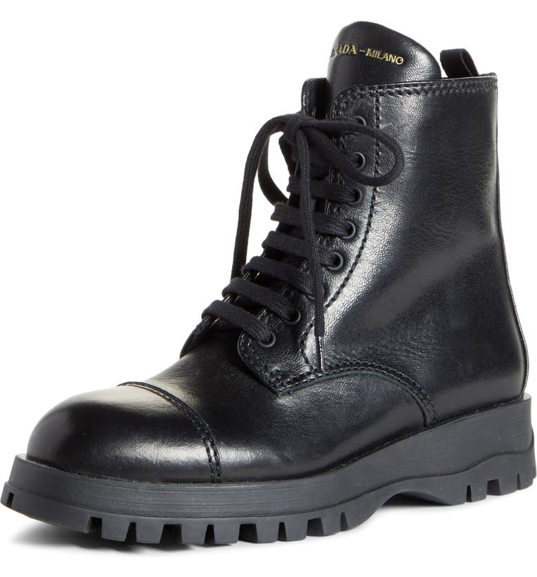 PRADA Lace-Up Combat Boot, Main, color, BLACK