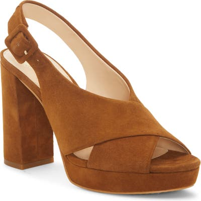 Vince Camuto Javasan Slingback Platform Sandal- Brown