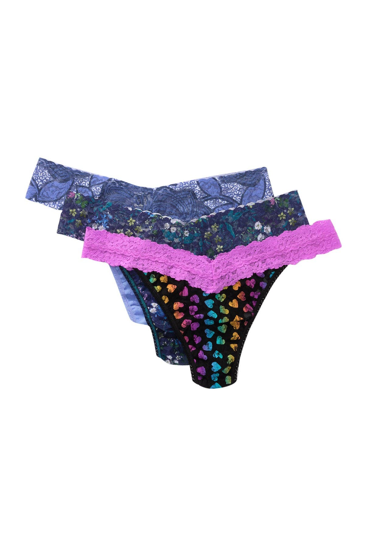 Image of Hanky Panky Original Rise Lace Thongs - Pack of 3