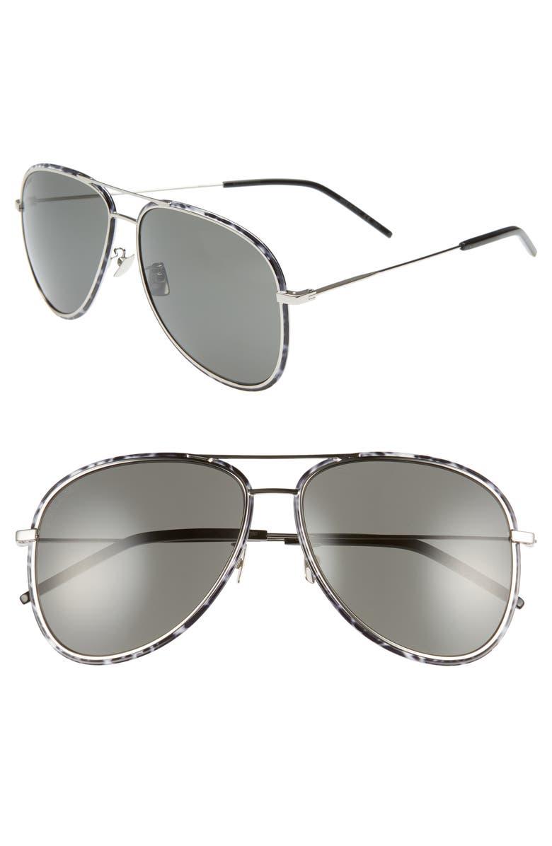 SAINT LAURENT 61mm Aviator Sunglasses, Main, color, SILVER/ BLACK/ WHITE