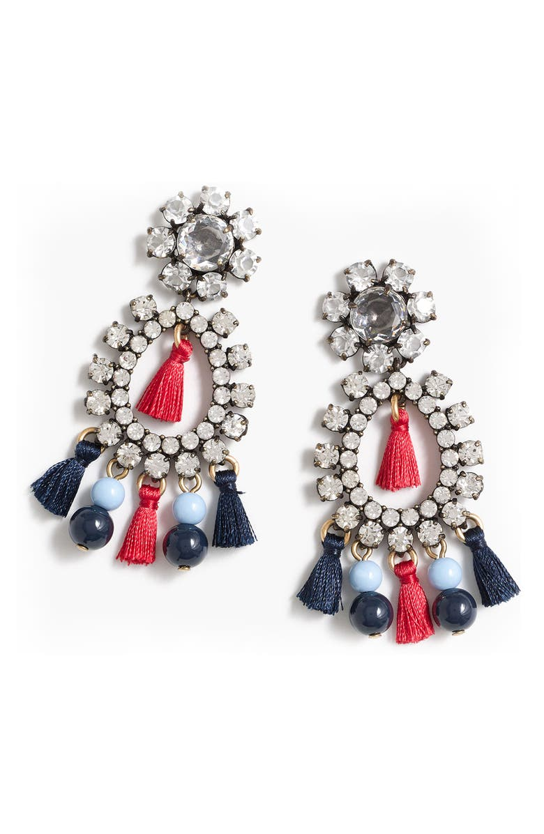 J.CREW Crystal & Tassel Earrings, Main, color, 040
