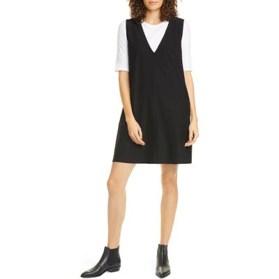 Eileen Fisher Deep V-Neck Shift Dress, Black