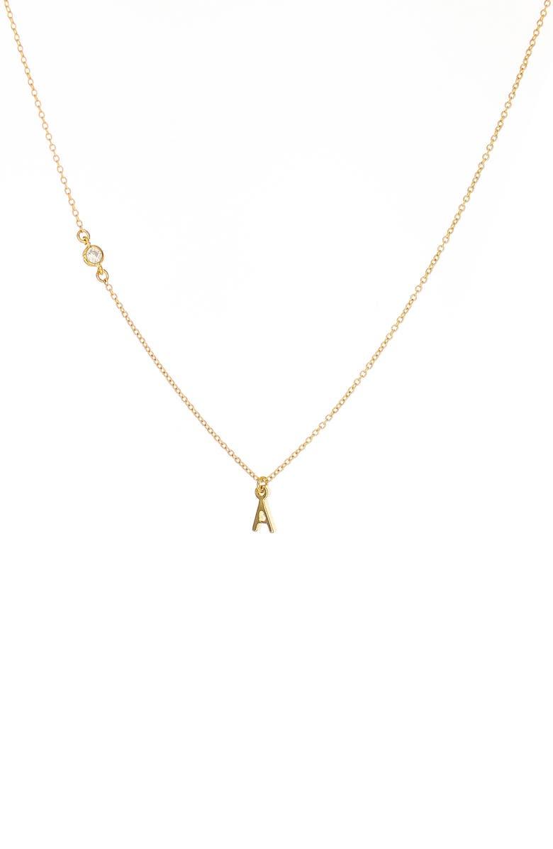 PANACEA Initial Pendant Necklace, Main, color, GOLD A