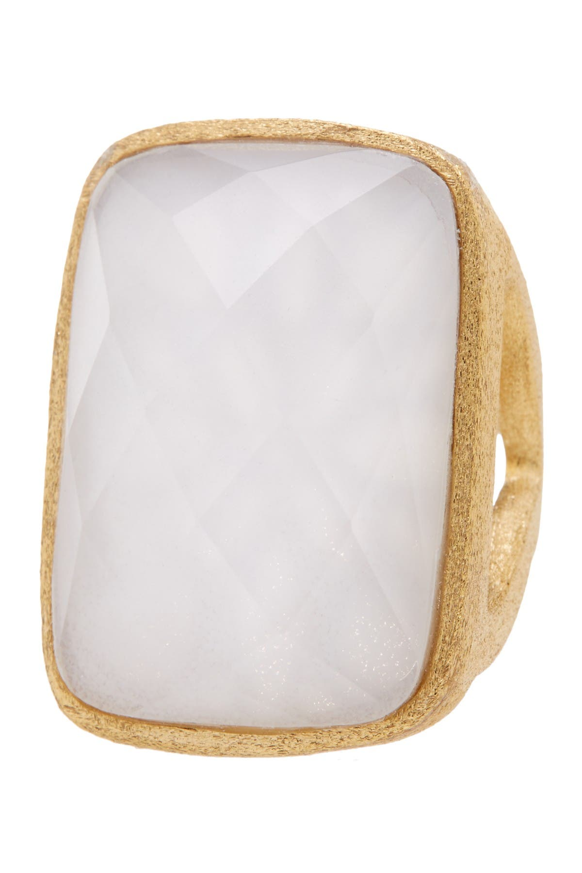 Image of Rivka Friedman 18K Gold Clad Opal Crystal Doublet Bold Rectangle Open Shank Ring