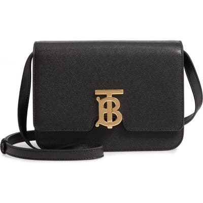 Burberry Small Tb Grainy Leather Shoulder Bag - Black