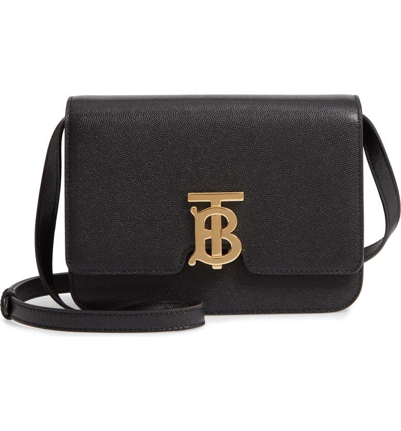 BURBERRY Small TB Grainy Leather Shoulder Bag, Main, color, BLACK