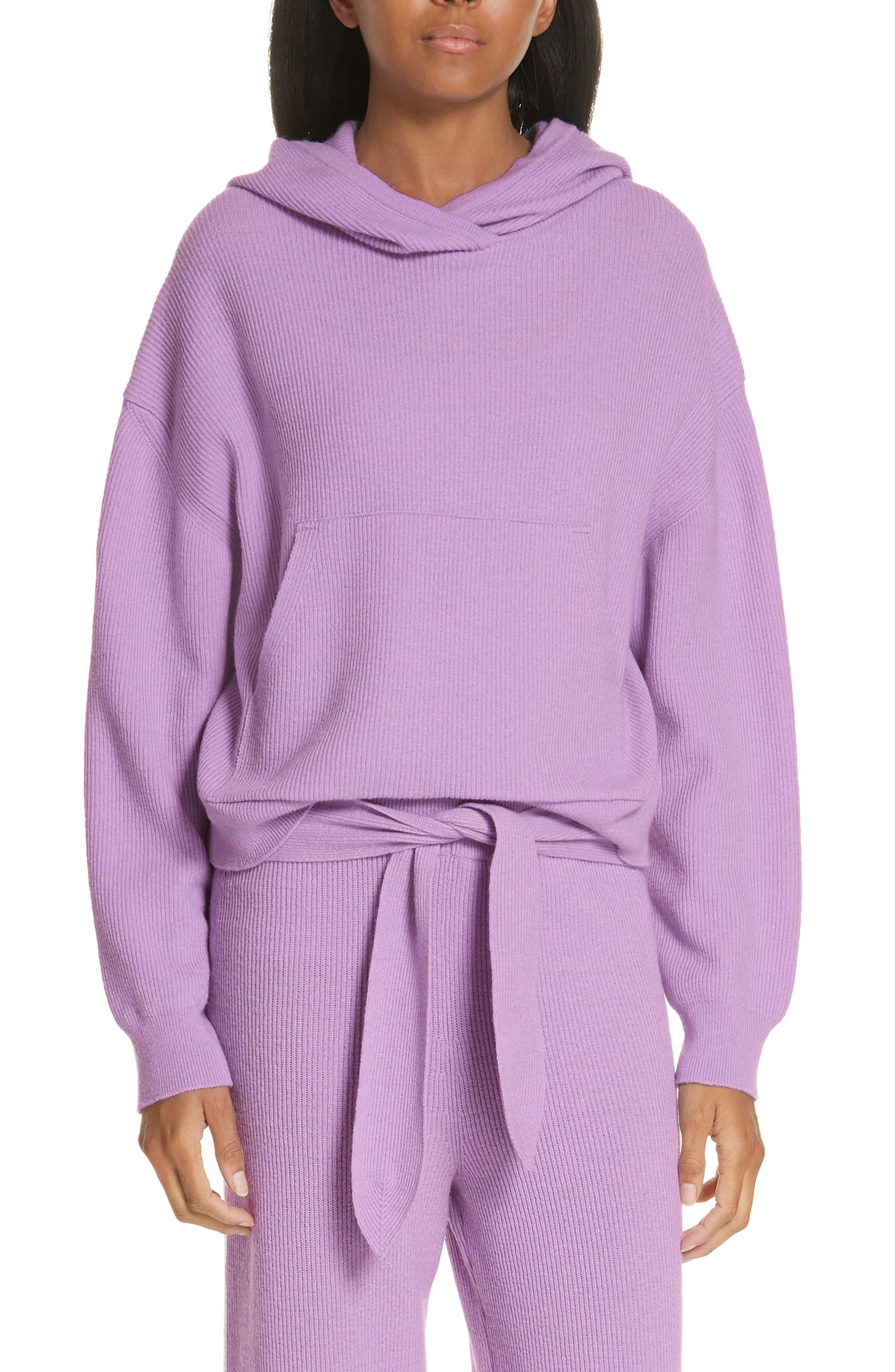 Merino Wool & Cashmere Blend Crop Hoodie, Main, color, LAVENDER