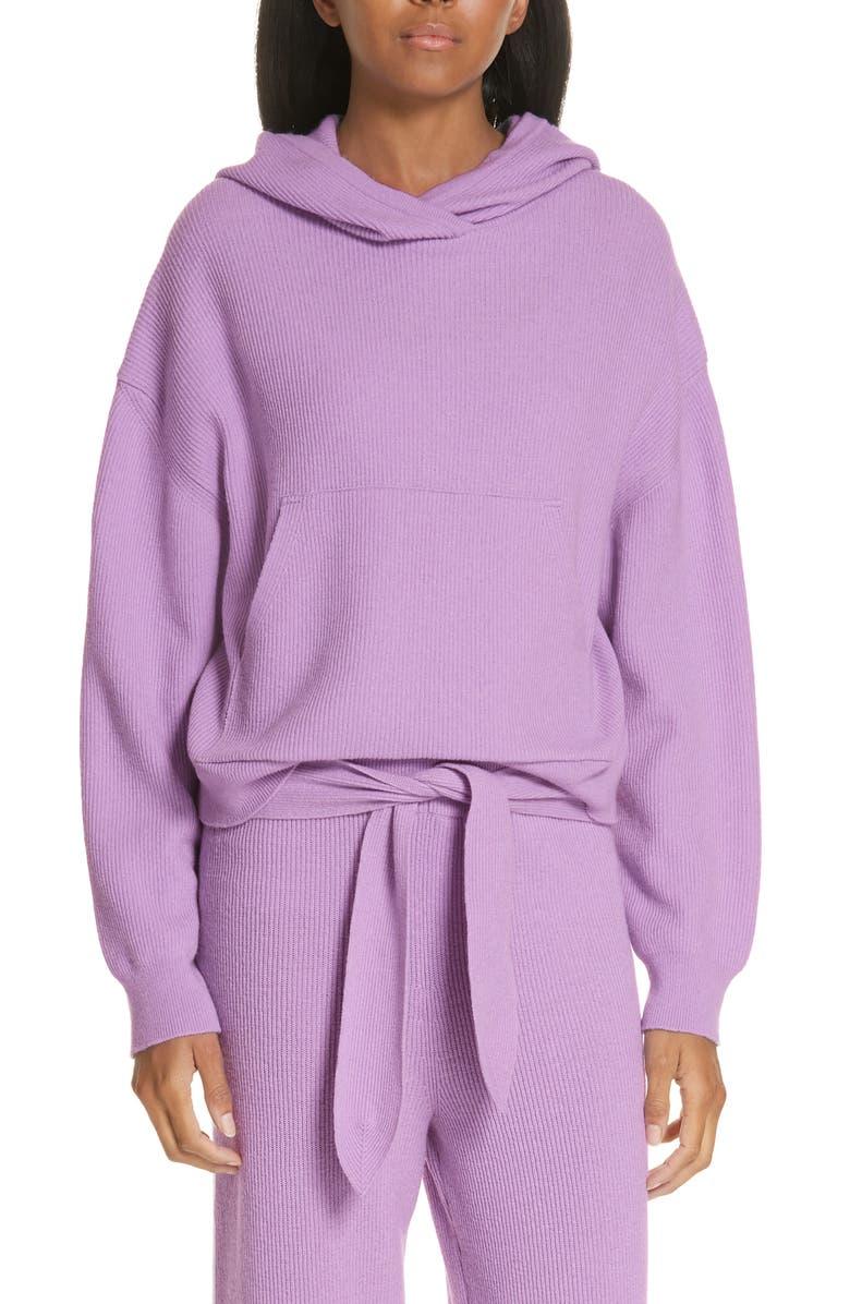 NANUSHKA Merino Wool & Cashmere Blend Crop Hoodie, Main, color, 530