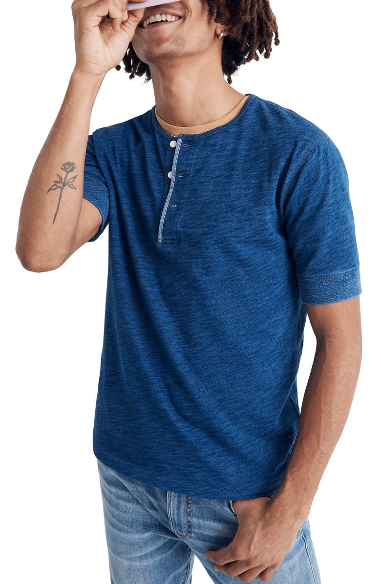 MADEWELL Slim Fit Indigo Henley T-Shirt, Main, color, 403