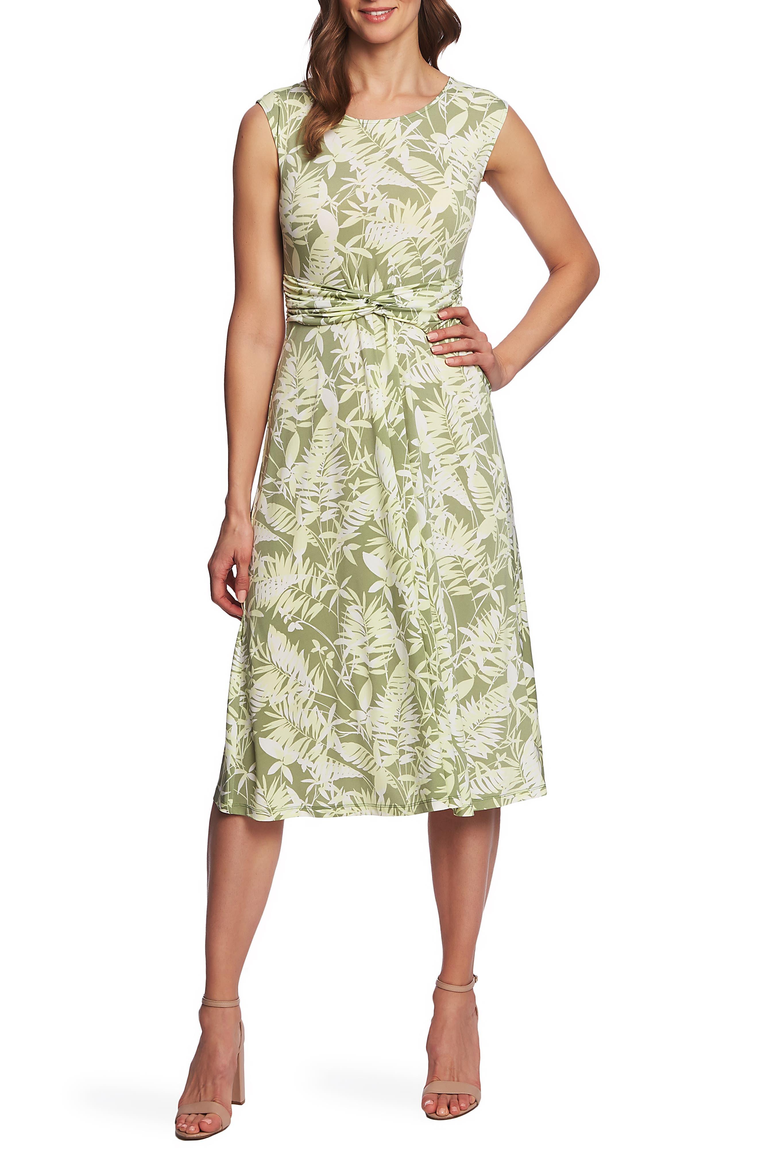 Tropical Foliage Tie Waist Dress, Main, color, CITRUS PEEL