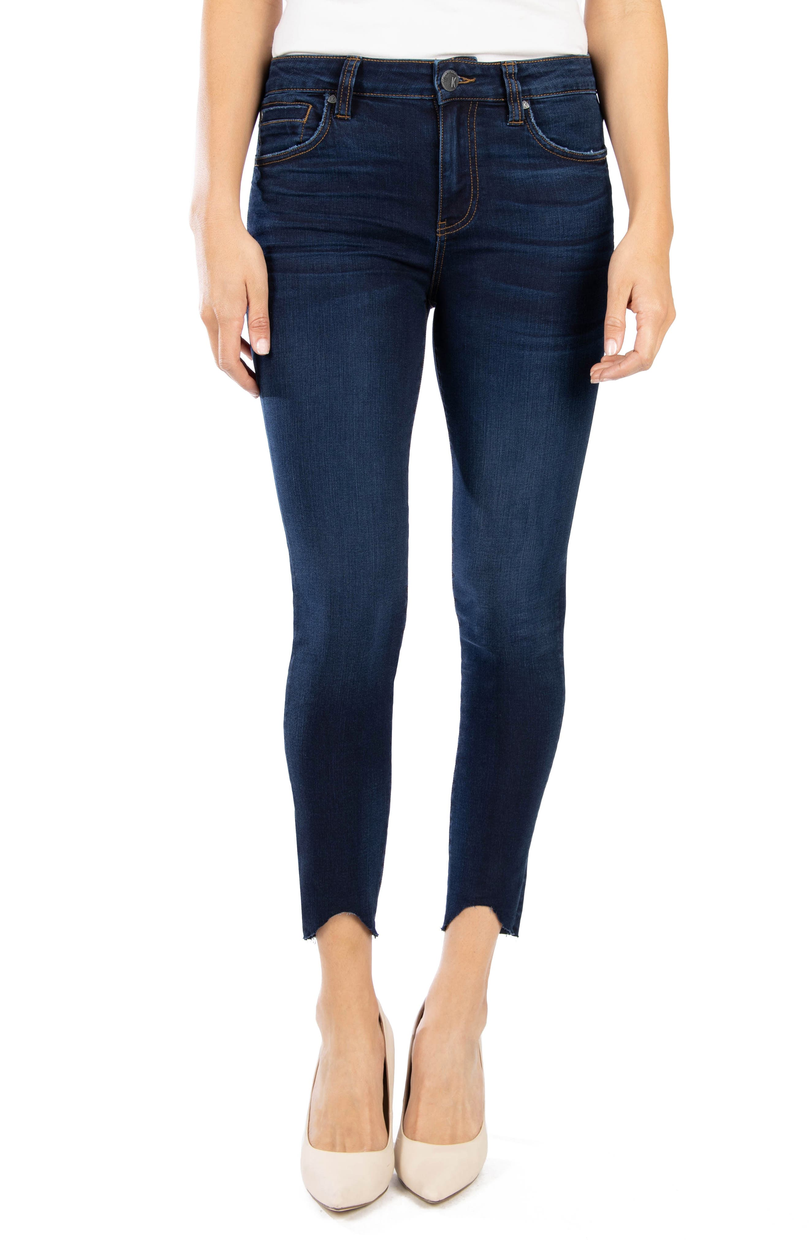 KUT from the Kloth Connie High Waist Raw Bitten Hem Ankle Skinny Jeans (Resting)