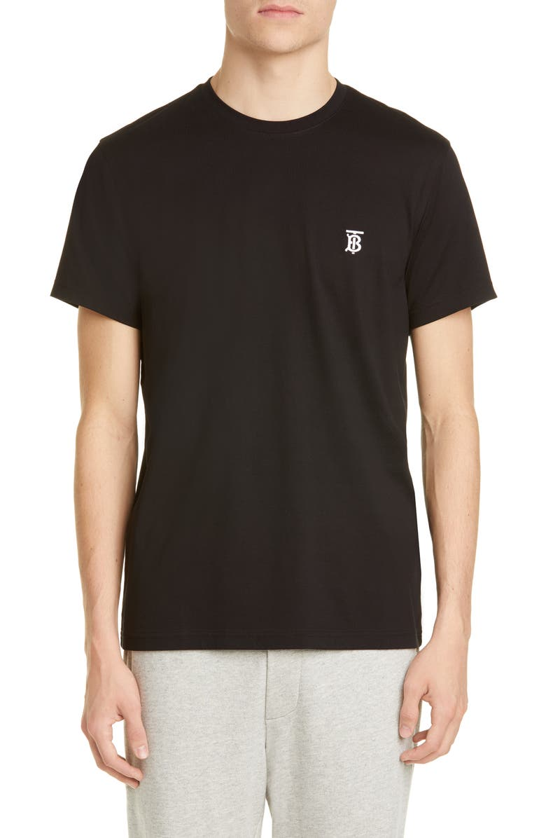 BURBERRY Parker Embroidered Logo T-Shirt, Main, color, BLACK