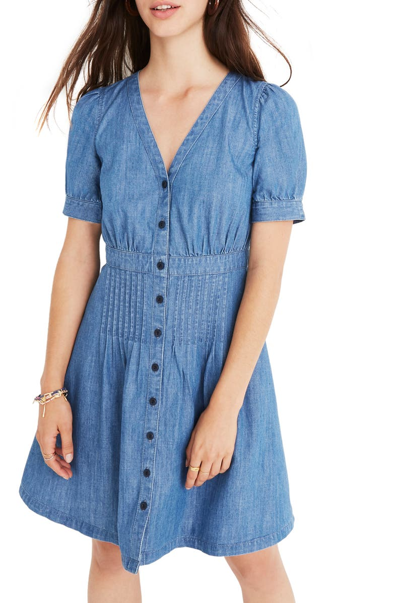 MADEWELL Denim Daylily Dress, Main, color, 400