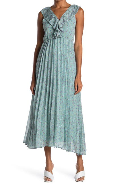 Image of MELLODAY Pleated V-Neck Crepe Maxi Dress