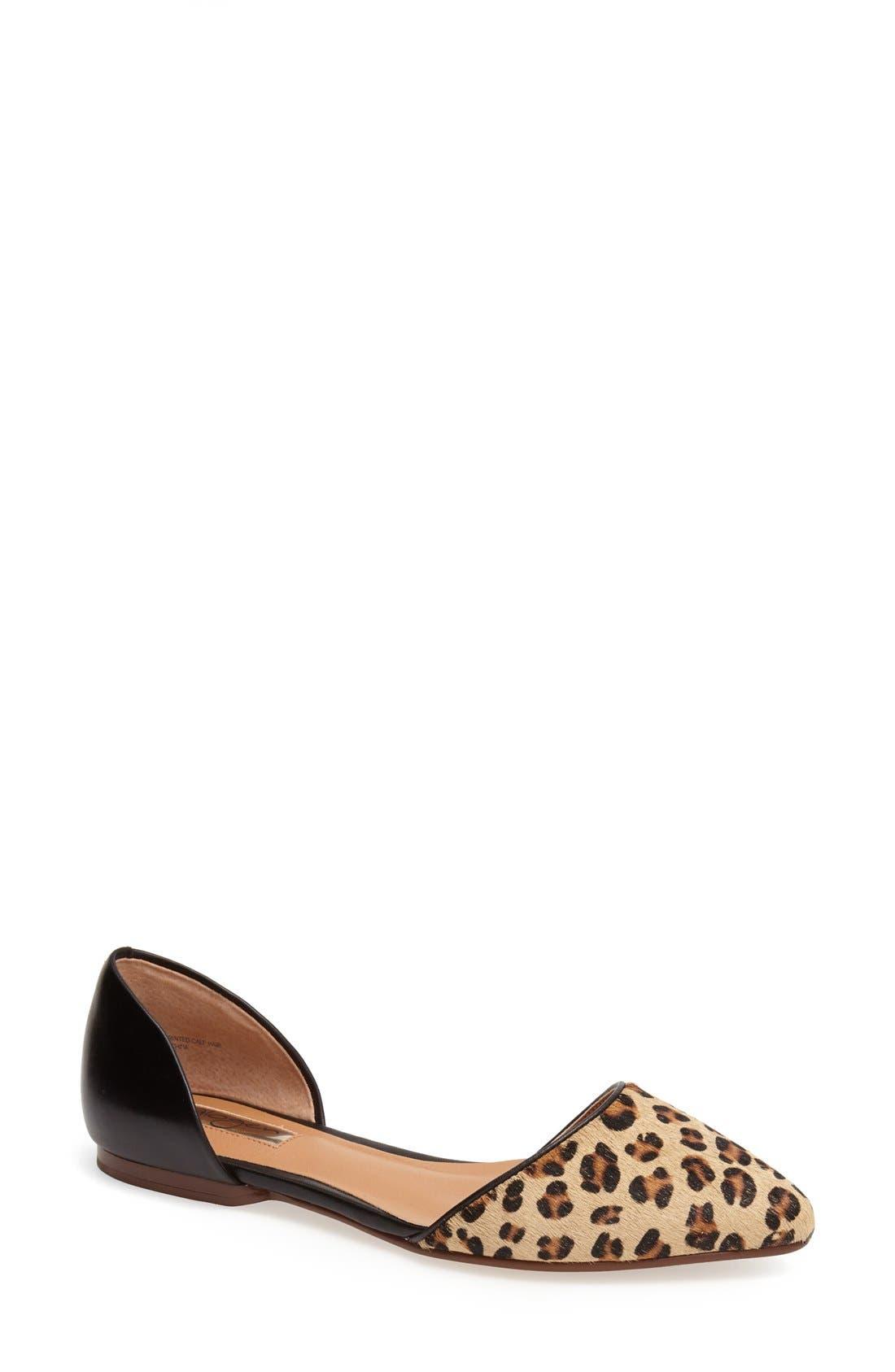 'Kayla' Leather & Calf Hair Pointy Toe Flat, Main, color, 240