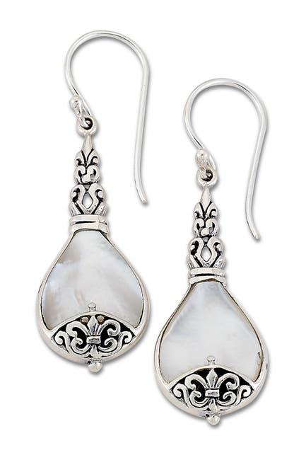 Image of Samuel B Jewelry Sterling Silver Scrollwork Design Mother of Pearl Drop Earrings