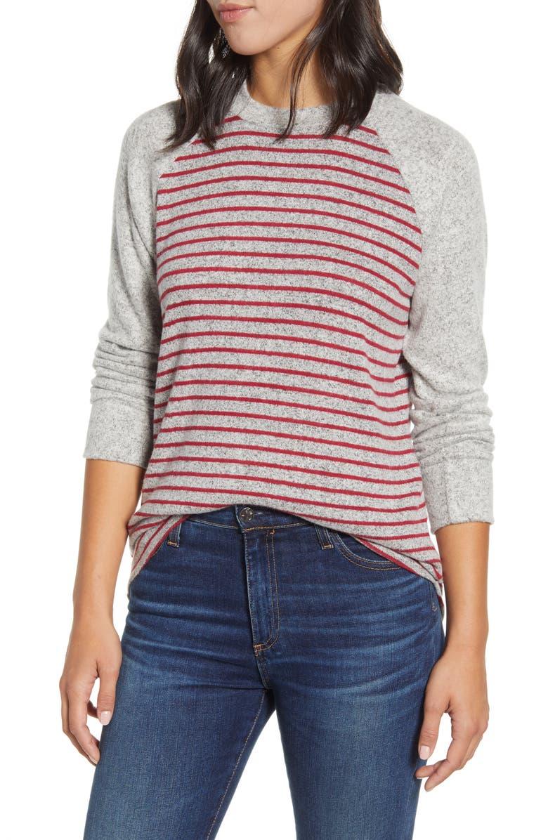 LOVEAPPELLA Raglan Sleeve Knit Top, Main, color, H GRAY/ BURGUNDY