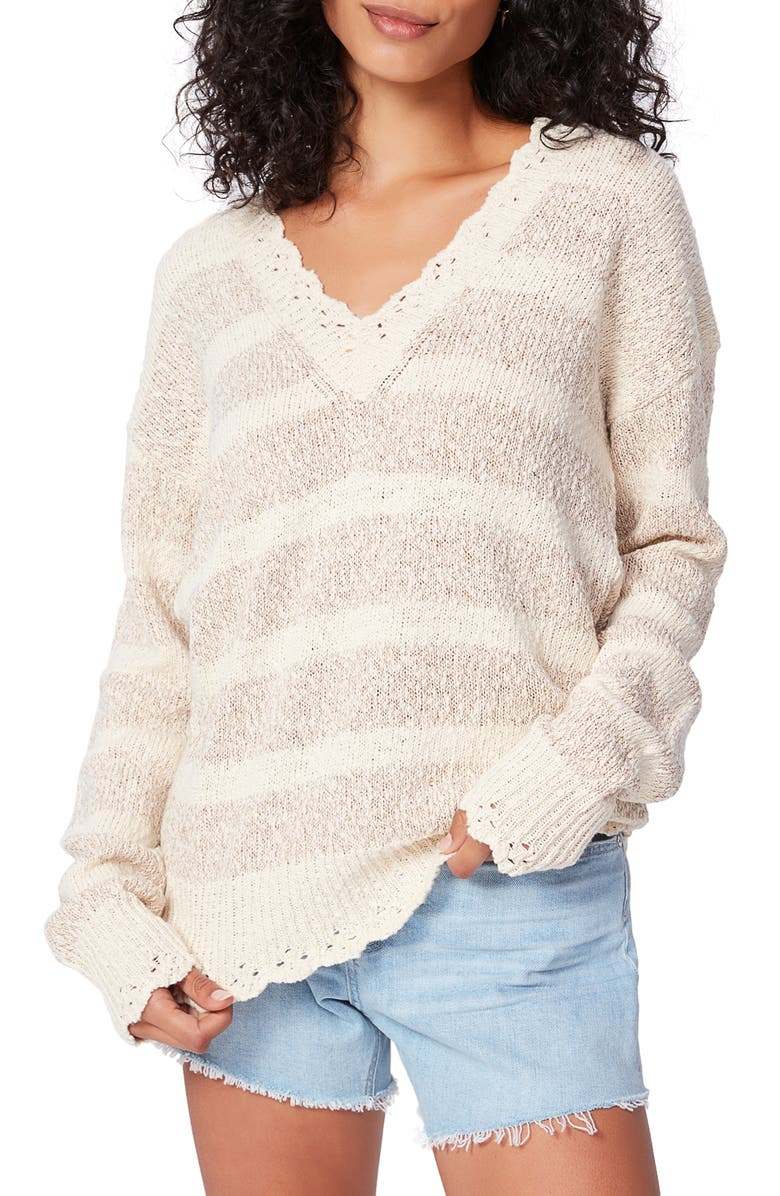 PAIGE Caspian Stripe V-Neck Sweater, Main, color, NATURAL/ ROSE GOLD