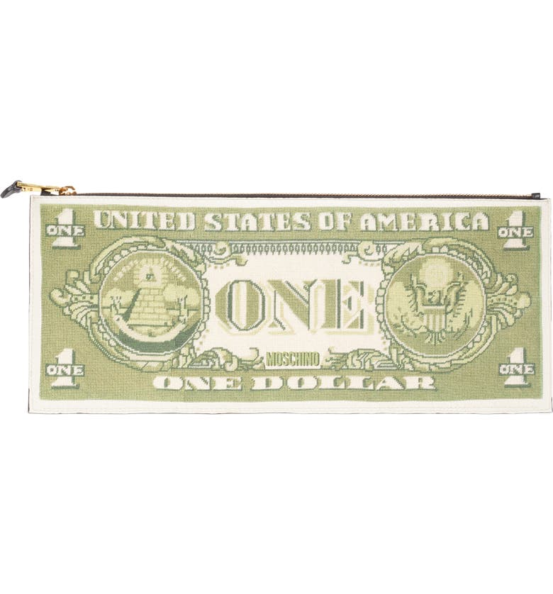 MOSCHINO Large One Dollar Bill Zip Clutch, Main, color, GREEN MULTI