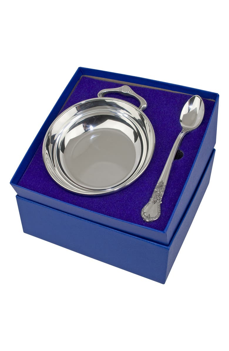 SALISBURY PEWTER Porringer & Feeding Spoon Set, Main, color, POLISHED PEWTER