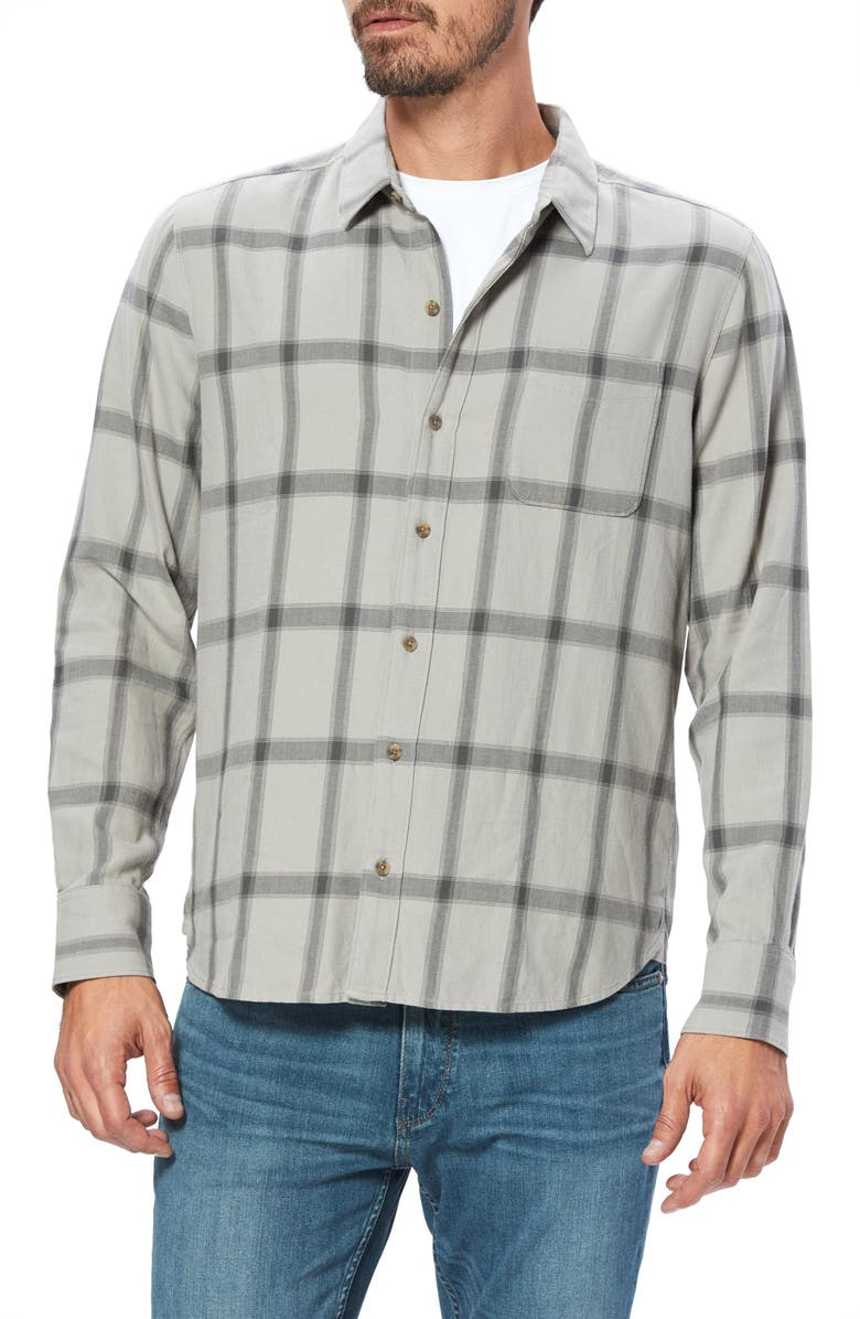 PAIGE Cooper Plaid Button-Up Shirt, Main, color, AGED GREY LAKE