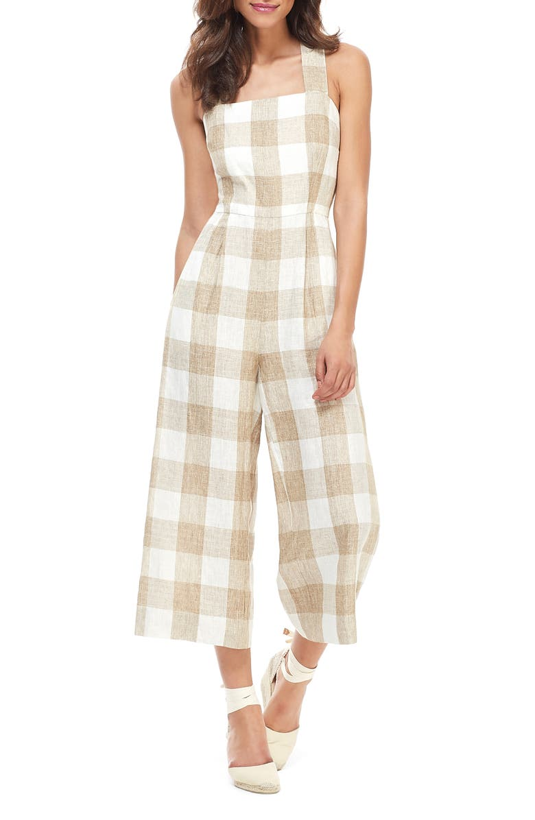 GAL MEETS GLAM COLLECTION Bailey Cross Back Linen Jumpsuit, Main, color, NATURAL