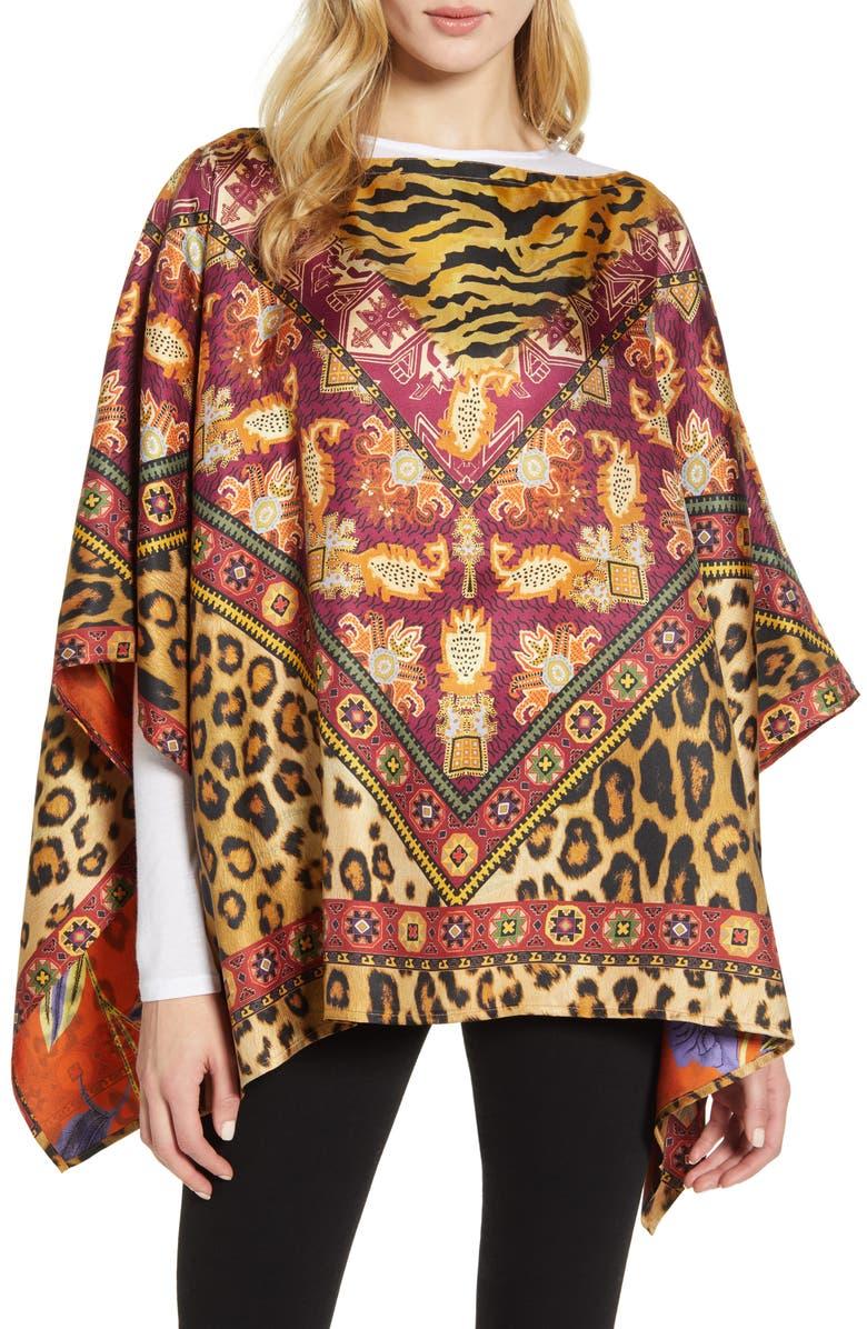 ETRO Leopard & Floral Reversible Silk Scarf, Main, color, MED BRWN MULTI
