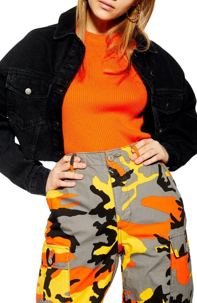 TOPSHOP Crop Denim Jacket, Main, color, WASHED BLACK