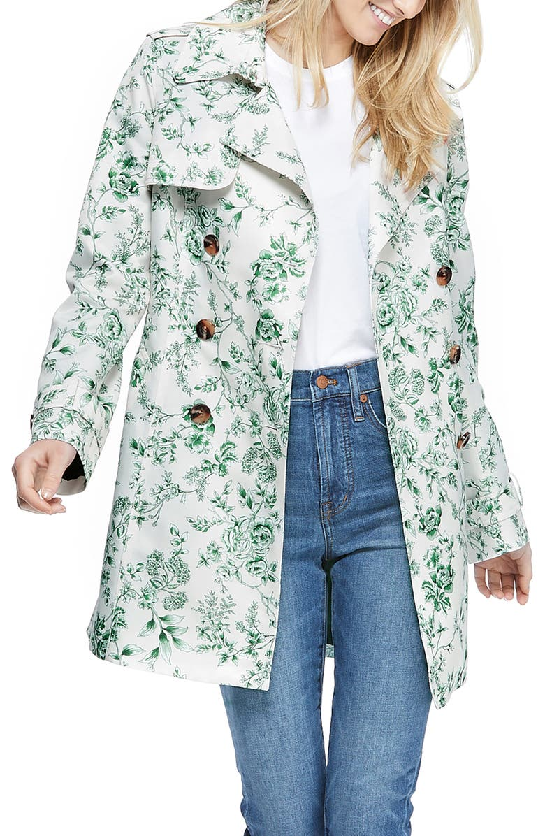 GAL MEETS GLAM COLLECTION Floral Print Twill Double Breasted Trench Coat, Main, color, 335