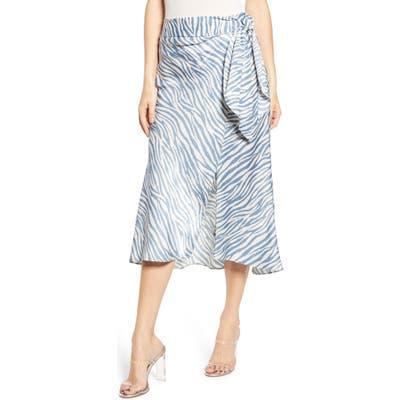 J.o.a. Faux Wrap Midi Skirt, Blue