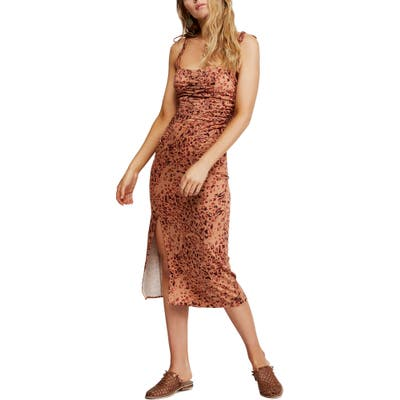 Free People Show Stopper Body-Con Midi Dress, Brown