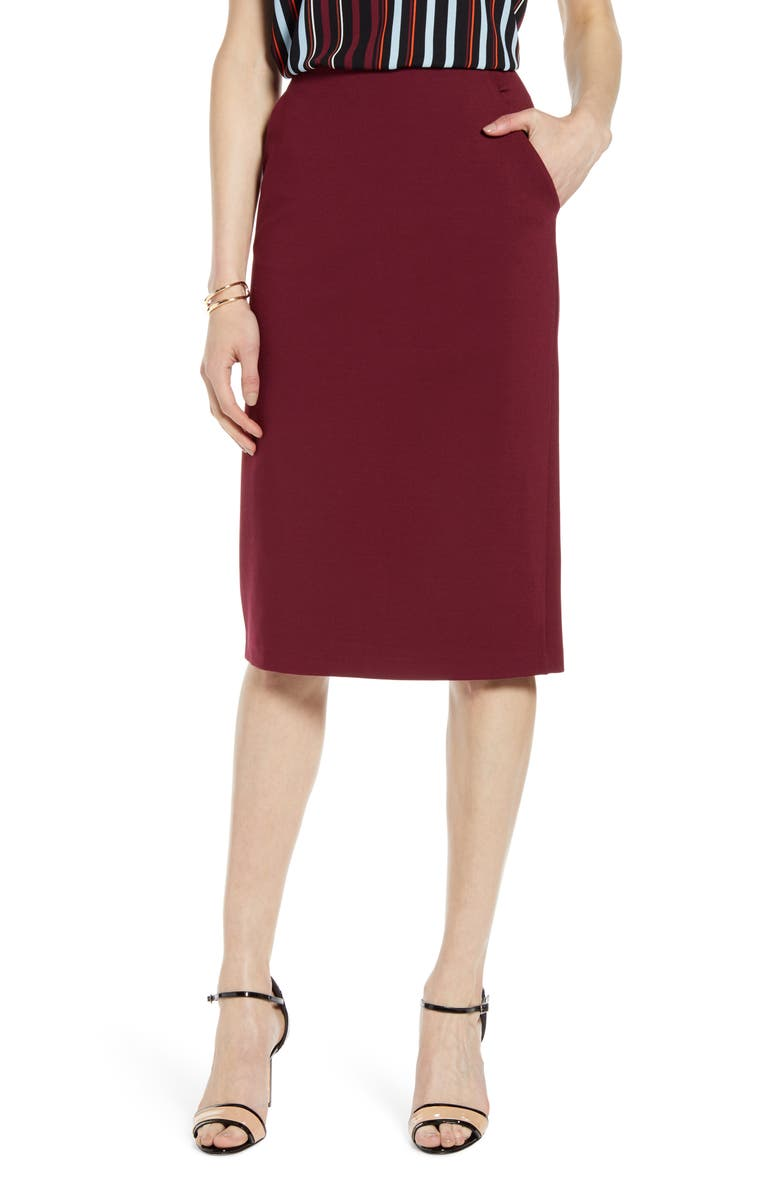 HALOGEN<SUP>®</SUP> Knit Pencil Skirt, Main, color, BURGUNDY FIELD