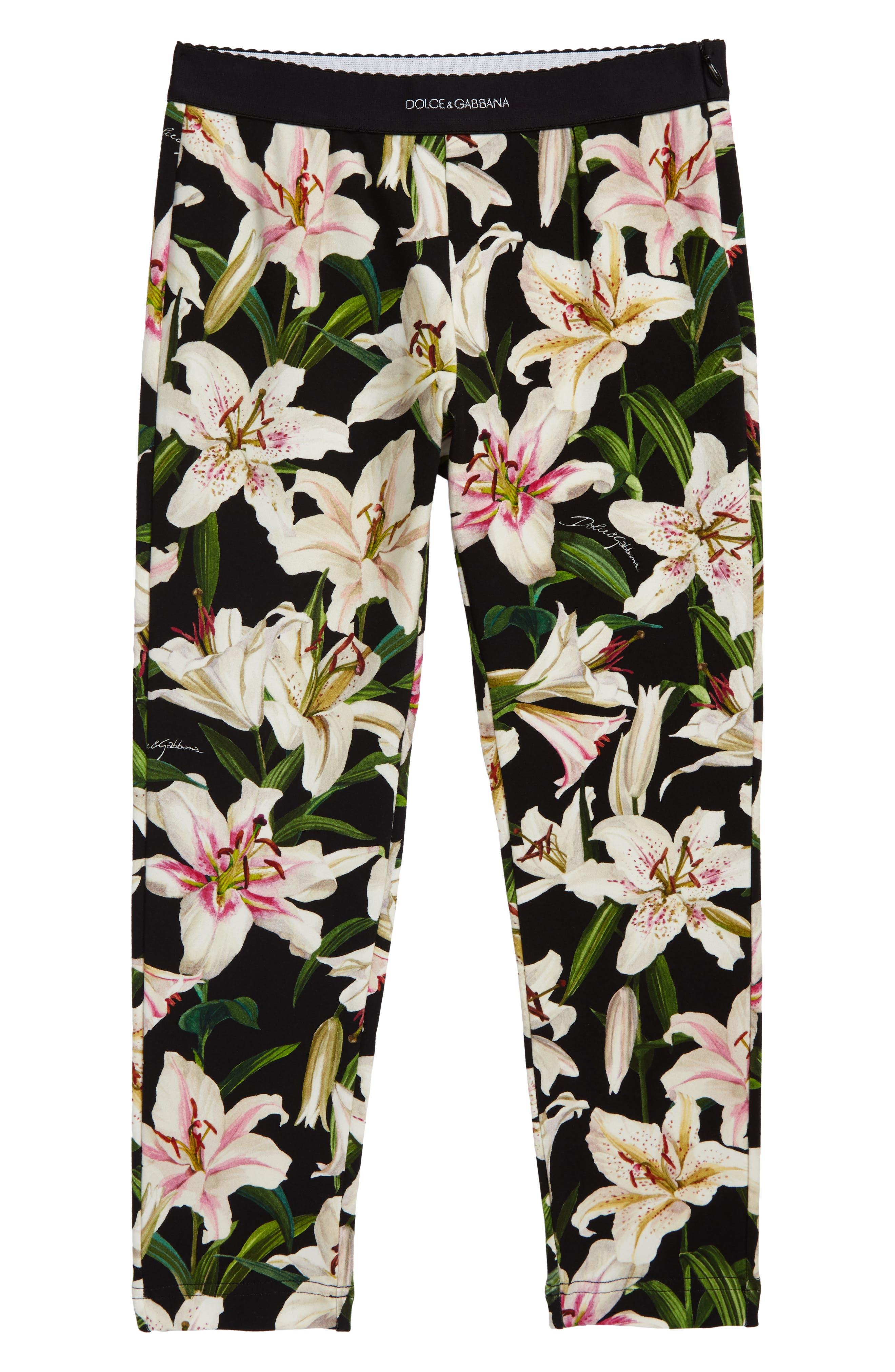 Girls Dolce  gabbana Floral Print Leggings Size 8  White